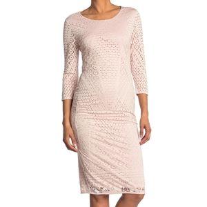 Carmen Marc Valvo crochet cut out overlay dress